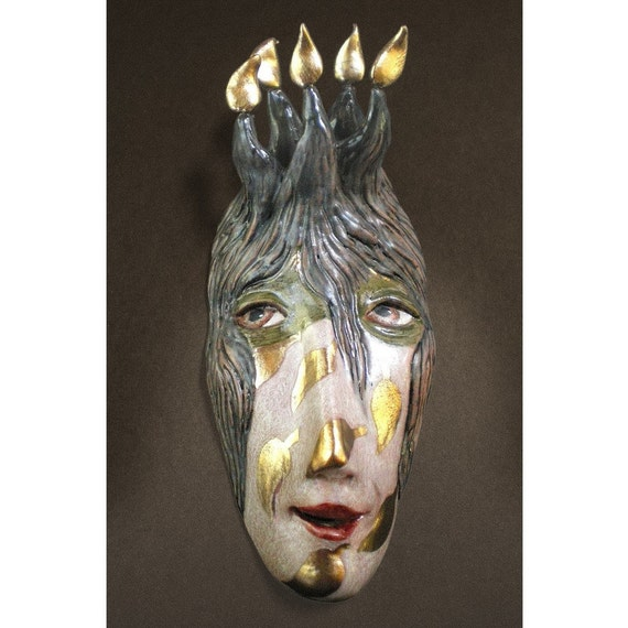 Princess of the Inevitable - Ceramic Mask Sculpture, Clay Face Pendant, Original Mask Art, Art to Wear