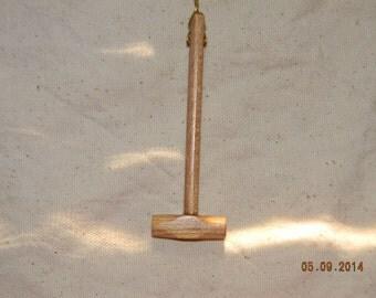 Long Handled Hammer Wooden  Pendant