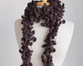 Crochet Scarf..Brown Pom Pom Scarf..Winter Sale Scarf