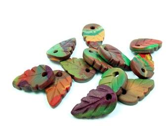 Autumn Leaves - Handmade Polymer Clay Beads