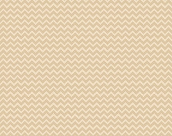 SALE - Camp a Lot, Cream Tan Chevron, Bo Bunny, Riley Blake, 100% Cotton Quilt Fabric, Tan Tonal, Quilting Fabric