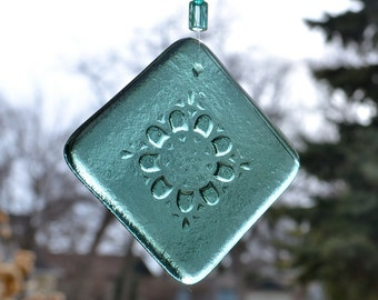 Spring Flower in Sea Green Fused Glass Suncatcher