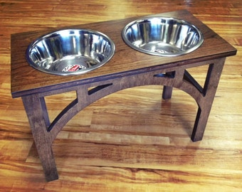 Raised Dog Bowl Feeder 1 Qt 8 Inch Double - Sellwood Design -  Elevated Dog Bowl - Raised Dog Feeder - Dog Bowls - Elevated Pet Feeder