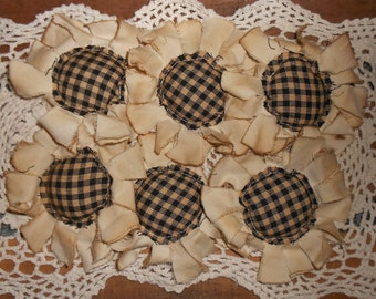 Primitive Grungy Homespun Fabric Flowers Ornies Bowl Fillers Set of 6