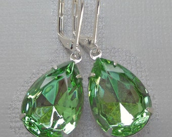 Green Crystal Earrings - Victorian Earrings - Old Hollywood - CAMBRIDGE Peridot