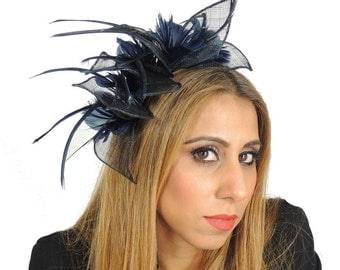 Navy Pangolin Fascinator  Hat for Weddings, Occasions and Parties With Headband