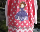 sophia the first princess,  applique pillowcase dress,princess birthday dress,  sofia princess