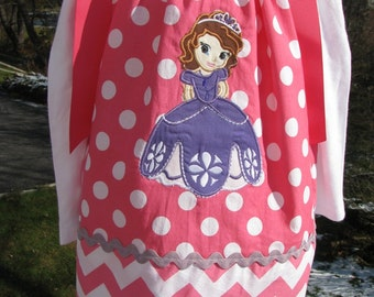 sophia the first princess,  applique pillowcase dress,  princess birthday dress,  sofia princess, princess birthday pillowcase dress