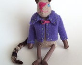 Scrap cat- tiny kitty cat lapel buddy or pocket pal made from recycled, felted wool