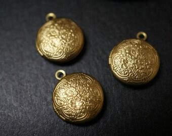 Raw Brass Tiny Dainty Cute Simple Victorian Floral Lockets - 15mm - 4 pcs