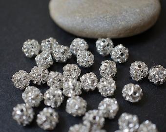Findings - 6mm Silver Rhinestone Ball Beads - 10 pcs