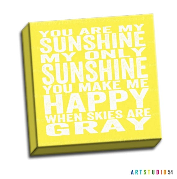 "You are My Sunshine  - White Yellow Typography Quote - 6""x6"" to 36""x36"" - 1.25"" Deep - Gallery Wrapped Canvas - artstudio54"