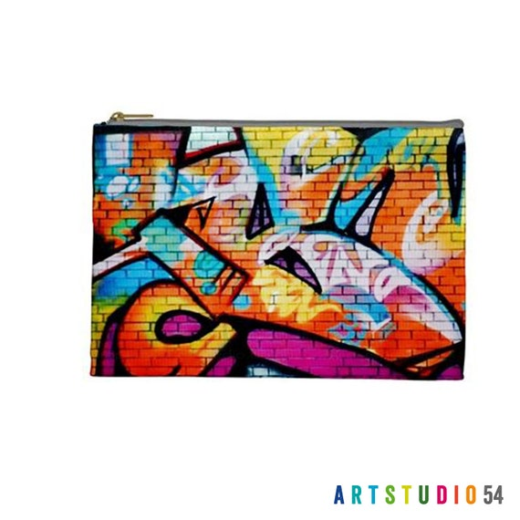 "Graffiti Pattern on a Pouch, Make Up, Cosmetic Case Travel Bag Pencil Case - 9"" X 6"" -  Large -  Made by artstudio54"