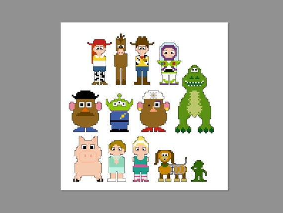 Knitting Pattern Toy Story Characters : Toy Story 3 Pixel People Character Cross Stitch PDF PATTERN ONLY from CheekyS...