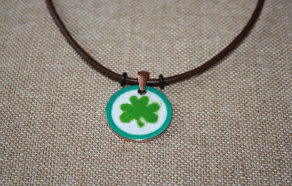 Green Irish Shamrock Copper Enamel Necklace on Leather