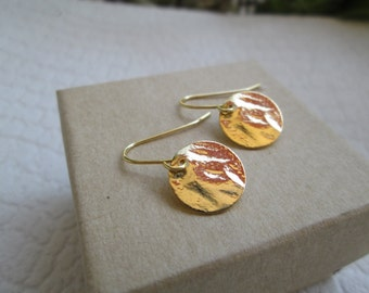 Gold Plated Hammered Disc On 14k Gold Filled Earrings
