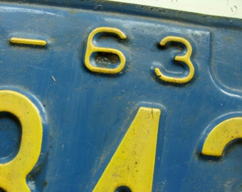 Antique Vintage Metal License Plate from the 1960s