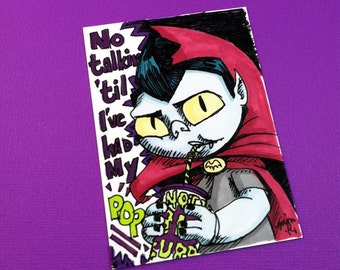 Boogervampire - Vampire Boy with Soda Pop - Sketch Card