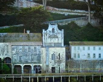 San Francisco Photography, Alcatraz Landscape Photography,Old Buildings,Urban Decay,Moss Green Landscape Print,Industrial Print,Hillside Art
