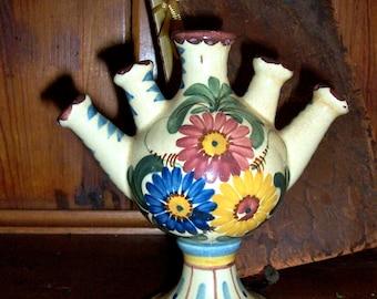 Vintage Vase/Finger Vase / Hand Painted /Colorful / Floral /Folk Art / 5 Finger Vase / Boho Home Decor/Art Pottery