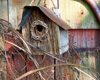 OUR HOUSE Birdhouse /  Rustic /  Handmade Vintage Birdhouse / Barn Wood and Salvaged Tin / Folk Art Birdhouse