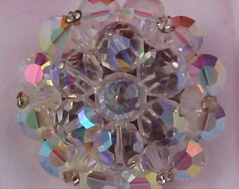REDUCED~Heavy Lead Crystal Aurora Borealis Bicone & Faceted Crystal Brooch/Pin