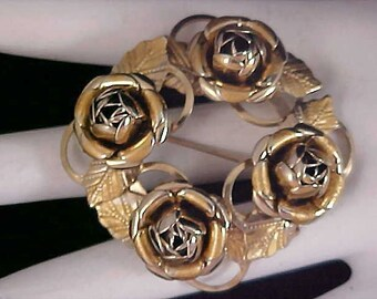 Drastically Reduced ~ Four Roses Dimensional Brooch ~ Gold Plate
