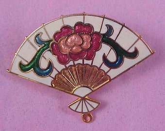 Stunning CLOISONNE FAN - Colorful Gold Plate Brooch/Pin