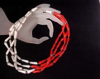 Red & White Elongated Lucite and  Crystal Spacer Beads - 4 Strand Necklace