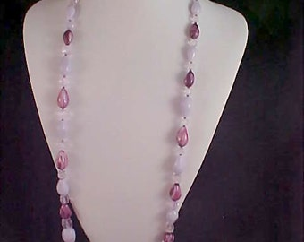 Circa 1940's PURPLE~LILAC & LAVENDER Necklace and  Clip Ears~Made in W. Germany