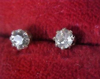 ART DECO ~SWAROVSKI Austrian Crystal Stud Post Earrings ~ Silver Plate