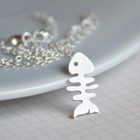 Fishbone necklace in sterling silver, handmade in the UK
