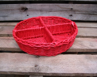 Appetizer Serving Tray Vintage Wicker Poppy Red Modern Trendy Storage Organization Office Home Decor Cottage Chic Table Decor