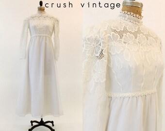 60s Tambour Lace Wedding Gown Medium / 1960s Maxi Dress / Allison Avenue Dress