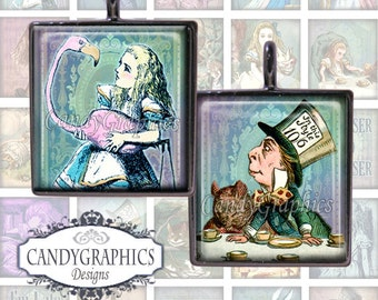 Vintage Alice in Wonderland - Digital Collage Sheet - .75 x .83 inches - Great for Scrabble Tile Pendants - Buy 2 Get One FREE
