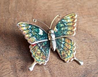 Vintage green/yellow metallic butterfly brooch/necklace,metallic butterfly brooch/necklace,green/yellow butterfly,butterfly brooch/necklace