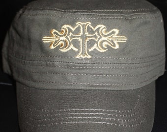 Ladies Embroidered Military Style Hat- Fancy Cross- Army Green Hat-SALE