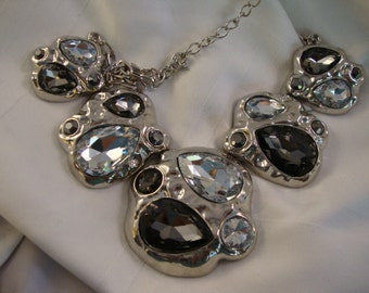 HUGE, Modern Various Grey Rhinestoned Silver Toned Necklace