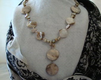 Freshwater Pearl Drop Necklace in Light Tan Tones