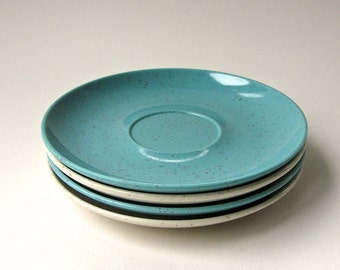 50s vintage Melmac Holiday by Kenro Speckled Blue and Ivory Saucers / Set of 4