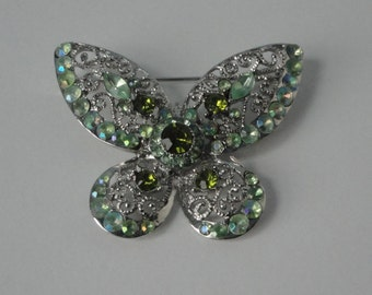 VintageSilver tone with green AB Rhinestones Butterfly Brooch