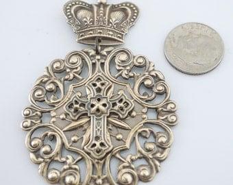 Vintage Brass - Cross Pendant - Brass pendant - DIY Necklace - Brass Stamping - handmade jewelry