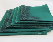 Holiday Napkins Made From a Vintage Tablecloth Unique Set of Six Green