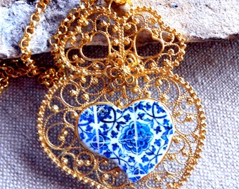 Portugal Portuguese LARGE Silver Filigree Heart of Viana Minho in 24k gold bath with 16th Century Azulejo tile center from Tomar!