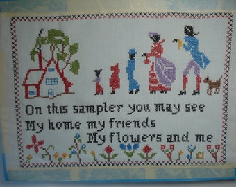 Vintage Cross Stitch Sampler On this sampler you may see my home my friends my flowers and me