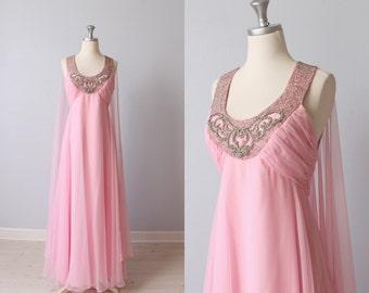 Vintage 1960s Dress / Formal Dress / Evening Dress / Prom Dress / Pink / Spun Sugar