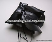 Romantic Satin Ring Bearer Pillow...You Choose the Colors...Buy One Get One Half Off..shown in black/pewter gray