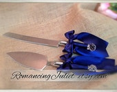 Simple Elegance Satin Cake Server Set..You Choose The Bow Colors..shown in navy blue