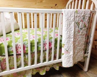 Baby Bedding 3-piece, Twirling Around Crib Quilt in Nicey jane,  fitted sheet and ruffled skirt, Girl, READY to SHIP