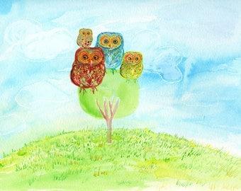 The Owl Family - mixed media illustration